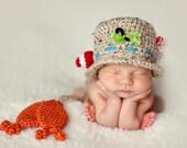 Crochet Fisherman Hat Newborn Phot Prop