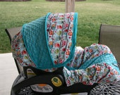 LAST ONE - Happy Owls with Teal minky Infant car seat cover- Custom Order- Always comes with Free Strap Covers