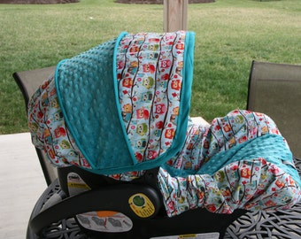 Happy Owls with Teal minky Infant car seat cover- Custom Order- Always comes with Free Strap Covers