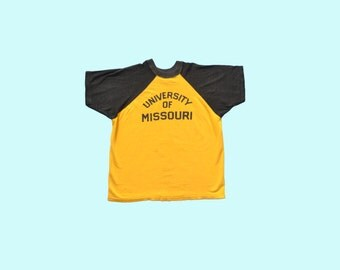 1950s University of Missouri Rayon Athletic Tee size M/L