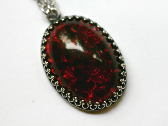 red fire opal pendant necklace