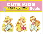 Cute Kids Vintage Presto Stick Seals, 1960s