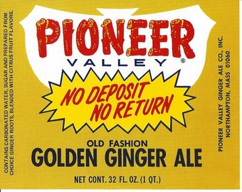 Pioneer Valley Golden Ginger Ale Soda Label, 1960s