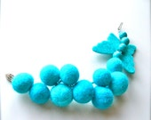 Felted bracelet with butterfly-  Bracelet with stone beads   - Fashion Jewelry Designer  Bracelet -Turquoise bracelet