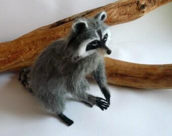 Needlefelted animal/Needlefelted Raccoon/ OOAK/  Needle Felted Animal/ Handmade/ Soft sculpture