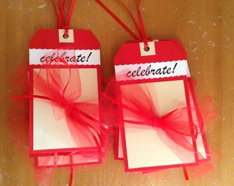 Gift Tags, CELEBRATE, Set of 8, Hang Tags,