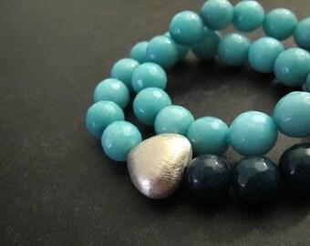 Heart Bracelet   Turquoise Bracelet   Stack Bracelet   Layering Jewelry   Asymmetrical Bracelet   Bohemian Inspired   Statement Bracelet