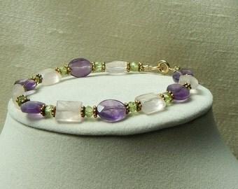 Amethyst Rose Quartz Peridot bracelet,Mothers day bracelet,Amethyst bracelet,Rose Quartz bracelet,cocktail bracelet,peridot bracelet