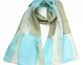 Aquarelle Silk Scarf Hand Painted Dyed Scarf Washed Pastel Colors Present For Her Watercolor Abstraction Style Scarf Gift For Wife