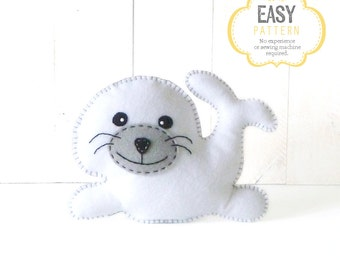 Stuffed Seal Sewing Pattern, Plush Seal Pattern, Instant Download, Baby Seal Plushie, Seal Softie, Felt Seal Sewing Pattern