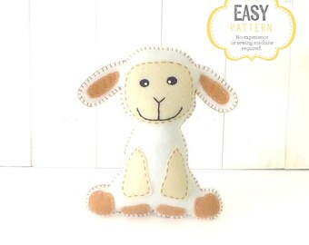 Lamb Stuffed Animal Sewing Pattern, Plush Lamb Sewing Pattern, Felt Lamb Pattern, Lamb Plushie, Lamb Softie, Sheep