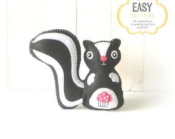 Skunk Sewing Pattern, Skunk Stuffed Animal Hand Sewing Pattern, Felt Skunk Pattern, Skunk Plushie, Skunk Softie
