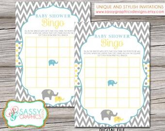 Elephant Boy Baby Shower Card, Baby Shower Bingo Card, Baby Bingo Card, Shower Games, Baby Shower Instant Download, Chevron (Item #31)