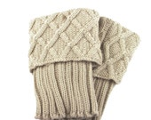 Diamond Cable Knit Boot Cuff