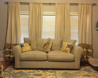 Drop cloth curtain panels
