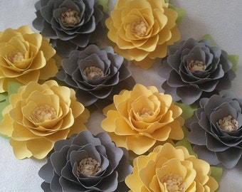 Paper Flowers - Weddings - Birthdays - Elizabeth Rose - Yellow and Gray  - Set of 25 - ANY COLOR - Made To Order