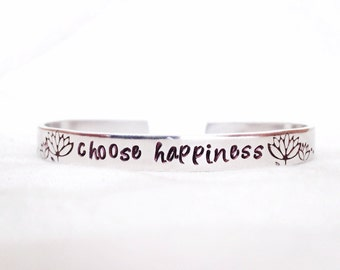 Choose happiness choose joy happiness is a choice lotus blossom floral flower personalized hand stamped bracelet