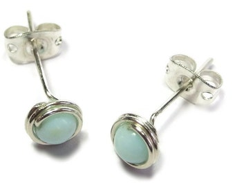Peruvian Blue Opal & Sterling Silver Wire-Wrapped Stud Post Earrings