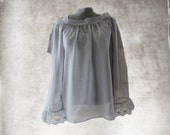Women blouse and tank set baby doll gray long sleeve