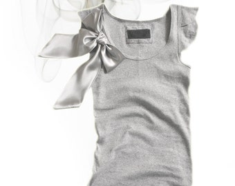 Gray bow top/Short sleeve new retro/Tank knit women/Removable bow