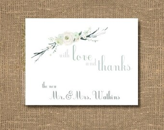 Thank You Cards | Wedding Thank You Notes | Bridal Thank You | Thank You From the New Mr & Mrs | Bridal Shower Thank You Cards  - Set of  10