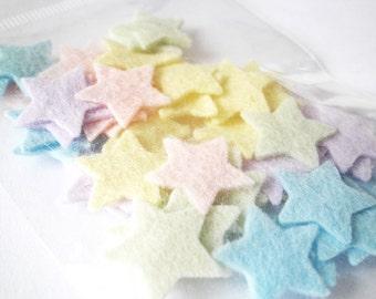 Felt stars confetti, small pastel star felt shapes. 5/8 inch / 1.6 cm