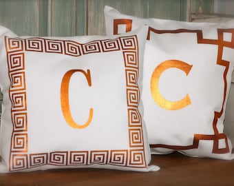 COPPER METALLIC monogrammed throw pillow - 14x14 - copper, gold or silver - select monogram and border