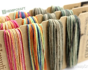 Rainbow Hemp Cord, 1mm High Quality Multicolored Hemp Twine Color Card