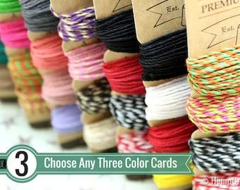 Hemp Cord Color Card Combo, Any 3 Cards, 1mm Premium Hemp Craft Twine