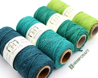 BULK DEAL - 4 (Four) Color-Coordinated Spools of Green 1mm Hemptique™ Brand Hemp Twine - Eco-Friendly, Colorfast, and Biodegradable!