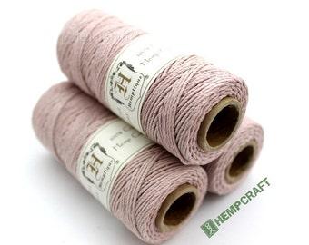 1mm Hemp Twine, Powder Pink, High Quality Hemp Craft Cord