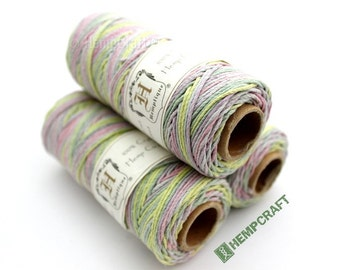 Hemp Twine, Spring Fling Pink Green Purple Blue Multicolor 1mm Craft Jewelry Cord, 205ft