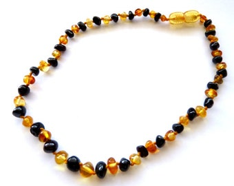 Baltic Amber Baby Teething Necklace Cherry Honey Baroque Beads