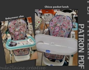 PDF patern DIY high chair cover / Patron et tuto pour housse chaise haute - Graco Tea Time