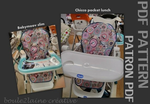 Pdf pattern high chair cover patron et tuto pdf housse for Housse chaise haute chicco
