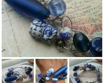 SALE. Blue Glass and Owl. Wire Crocheted Bracelet