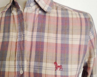 Vintage pastel plaid blouse with embroidered horse