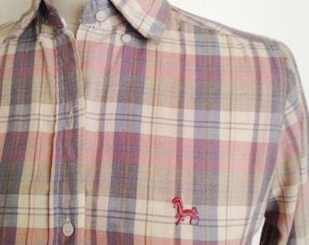 Vintage pastel plaid blouse