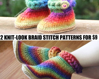 CROCHET PATTERN: Two Boot Patterns (Knit-Look Braid Stitch Baby/Adult) for 9 - Permission to Sell Finished Product