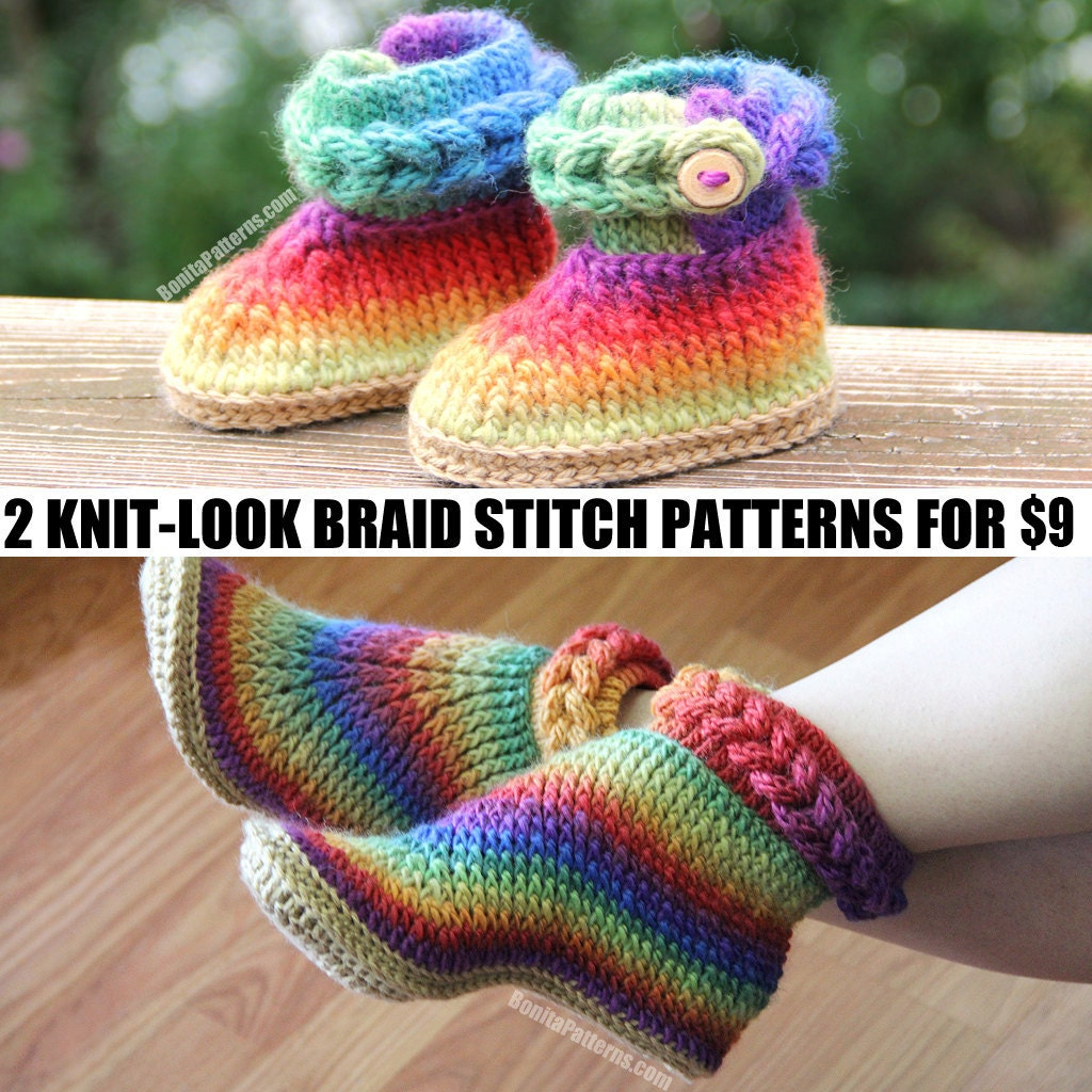 Knitting Stitch Looks Like Weaving : CROCHET PATTERN: Two Boot Patterns (Knit-Look Braid Stitch Baby/Adult) for 9 ...