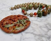 Heal and Nurture  -  Natural Brown and Green Stone and Crystal Chakra Balancing Necklace with Hand Carved Jasper Dragon Pendant