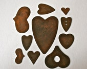 Rusty Tin Hearts in Assorted Sizes for Card Making Collage and Crafting