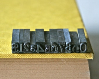 Small Letterpress Numbers with Dollar Sign and Decimal Point for Printing Stamping and Decor