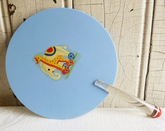 Vintage Child's Fan with Lucite Handle - Elephant and Giraffe Decal - Red, White and Clear Lucite Handle - Mid-Century 1950s