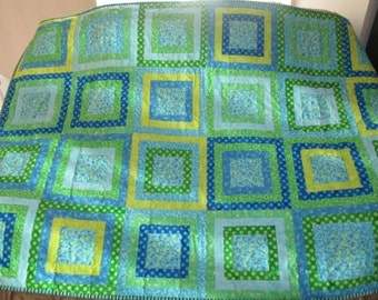 Blue Green Squares Kid Quilt