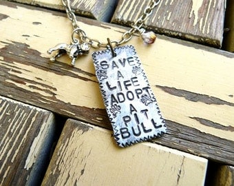 Save a Life Adopt a Pitbull Necklace, Pit Bull Jewelry, Adopt a Pit Bull Necklace, Pit Bull Lover