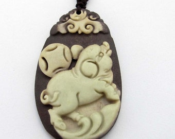 Chinese Zodiac Fortune Pig Two Layer Natural Stone Pendant Talisman 40mm*24mm  ZP066