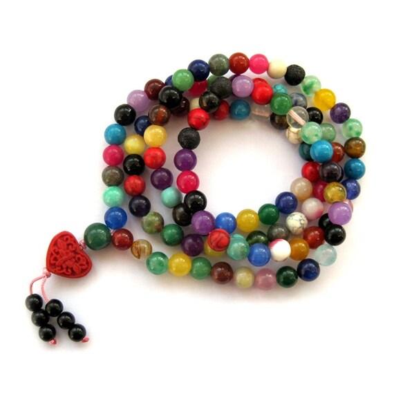 8mm 108 Colorful Gem Stone Tibet Buddhist Prayer Beads Japa Mala Necklace  ZZ078