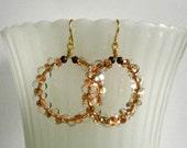 Copper Farfalle Earring Circle Earring Beaded Hoop Dangle Gold and Copper Earring Tribal Jewelry