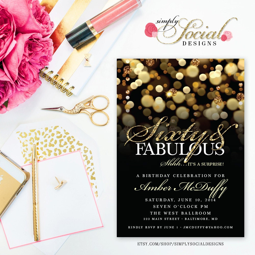 surprise 60th birthday party invitation with gold glitter